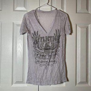 Affliction White Burnout Bling Graphic Tee